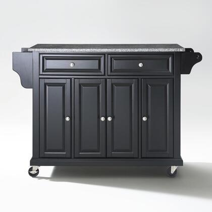 Full Size Kitchen Collection KF30003EBK Full Size Granite Top Kitchen Cart in Black