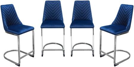 """Vogue_Collection_VOGUESTNV4PK_Set_of_4_Counter_Height_Chairs_with_""""V""""_Tufted_Seat_Back_Design__Polished_Stainless_Steel_Base_and_Footrest_in_Navy"""