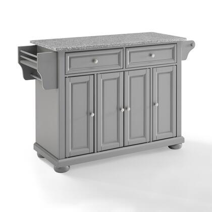 Alexandria Collection KF30203AGY Granite Top Kitchen Island/Cart in Gray