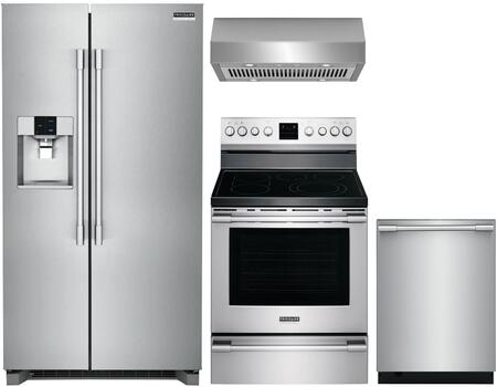 4 Piece Kitchen Appliances Package with FPSC2278UF 36″ Side by Side Refrigerator  FPEF3077QF 30″ Electric Range  FPID2498SF 24″ Fully Integrated