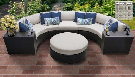 Barbados BARBADOS-06C-ASH 6-Piece Wicker Patio Set 06c with 3PC Curved Sectional  2 Cup Tables and Round Coffee Table – Wheat and Ash