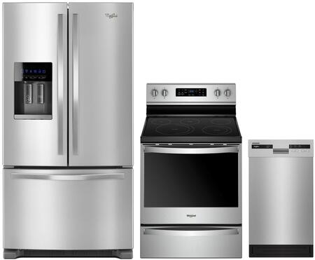 3 Piece Kitchen Appliances Package with WRF555SDFZ 36″ French Door Refrigerator  WFE775H0HZ 30″ Electric Range and WDF518SAHM 18″ Built In Full