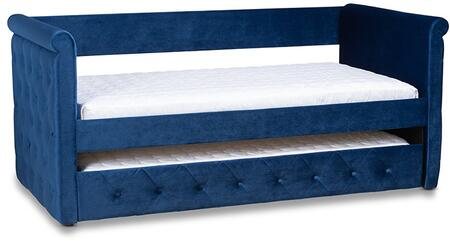 Amaya Collection CF8825-NAVYBLUE-DAYBED-T/T Twin Over Twin Size Daybed with Pull-Out Trundle  Rolled Arms  Contemporary Style  Engineered Wood Frame