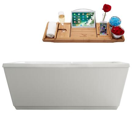 M-2021-59FSWH-DM 59″ Soaking Freestanding Tub and Tray With Internal Drain in White