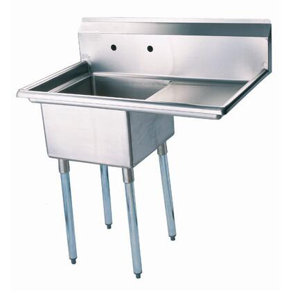 "TSA-1-12-R1 Right Side Drain Board 39"""" Wide One Compartment Sink with Swirl Away Bowl Drainage and Adjustable ABS Bullet Feet in Stainless -  Turbo Air, TSA112R1"