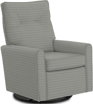 Phylicia Collection 4007-21083B Recliner with 360-Degrees Swivel Glider Metal Base  Removable Back  High Backrest  Zipper Access and Fabric