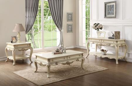 Acme Furniture Ragenardus 86020SET Living Room Table Set White, 3 PC Set