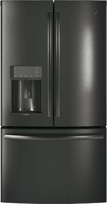 GE Profile  PFD28KBLTS French Door Refrigerator Black Stainless Steel, PFD28KBLTS Front View