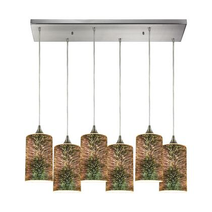 10741/6RC Spatter 6-Light Rectangle in Polished Chrome with Spatter Mosaic Glass
