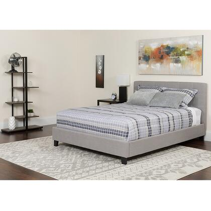 HG-BMF-28-GG Tribeca King Size Tufted Upholstered Platform Bed in Light Gray Fabric with Memory Foam