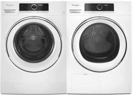 Front Load Compact WFW5090JW 24″ Washer with WHD5090GW 24″ Electric Dryer and W10882520 Stacking Kit Laundry Pair in