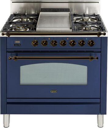 Ilve Nostalgie UPN90FDVGGBLY Freestanding Gas Range Blue, UPN90FDVGGBLY Gas Range