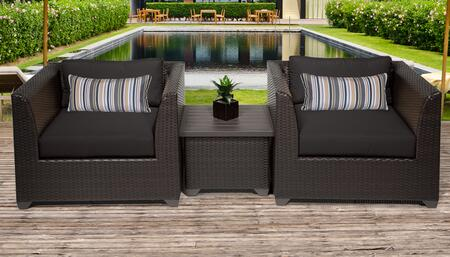 Barbados Collection BARBADOS-03a-BLACK 3-Piece Patio Wicker Set with 1 End Table and 2 Club Chairs – Wheat and Black