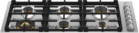 Bertazzoni Master MAST366QBXT Gas Cooktop Stainless Steel, MAST366QBXT Brass Burner Drop In Cooktop