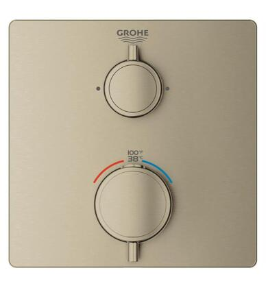 Grohtherm 24111EN0 Single Function 2-Handle Thermostatic Trim  in Brushed