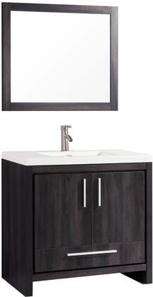 Miami Collection MTD-YBC306-36BW 36″ Single Sink Bathroom Vanity Set in Black