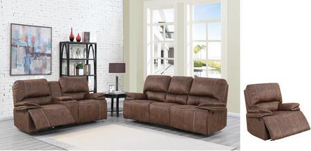 U8078-SLR-B 3 Piece Living Room Set with Power Recliner Sofa  Power Reclining Loveseat  Power Recliner in Dark