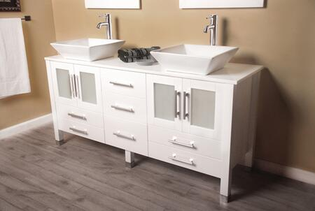 8119WF-BN 63″ Solid White Wood Vanity with Porcelain Counter Top and two matching vessel sinks Two long-stemmed Brushed Nickel Faucets and