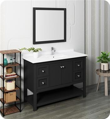 Manchester Collection FVN2348BL 48″ Black Traditional Bathroom Vanity with