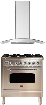 2 Piece Kitchen Appliances Package with UPN76DMPIX 30″ Dual Fuel Gas Range and CORTIVO30 30″ Wall Mount Convertible Hood in Stainless