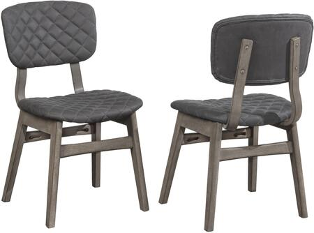 Alden Bay Collection 5035802 Set of 2 Dining Chair with Modern Diamond Stitch Upholstered and Footrest in Weathered Gray