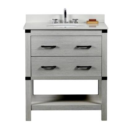 808175-30-GP-WEO 31″ Single Vanity In Gray Pine Finish Top With White Quartz And Oval
