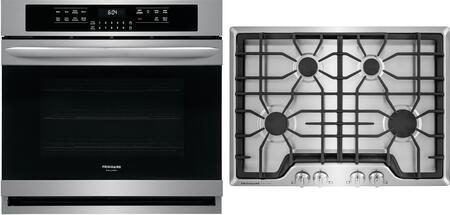 """2 Piece Kitchen Appliances Package with FGEW3066UF 30"""" Electric Single Wall Oven and FGGC3045QS 30"""" Natural Gas Cooktop in Stainless"""