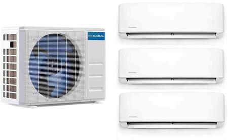 DIY Series Triple Zone Mini Split System with 27000 Cooling and Heating BTU Capacity  3x Wall Mount Indoor Unit and Heat Pump