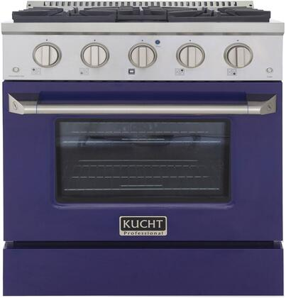 KNG301-B 30″ Blue Freestanding Natural Gas Range with 4 Burners  4.2 cu. ft. Capacity Oven  Manual Convection Cooking Mode  Blue Porcelain Oven