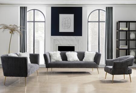 Meridian Monroe 696GREYSFLVCH Living Room Set Gray, 696GREY-SFLVCH