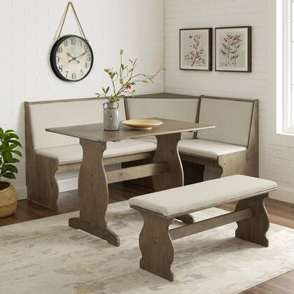 Sasha Collection KNK155NATABU Nook Set with Table  Bench and Corner Seating in Natural Finish and White Fabric