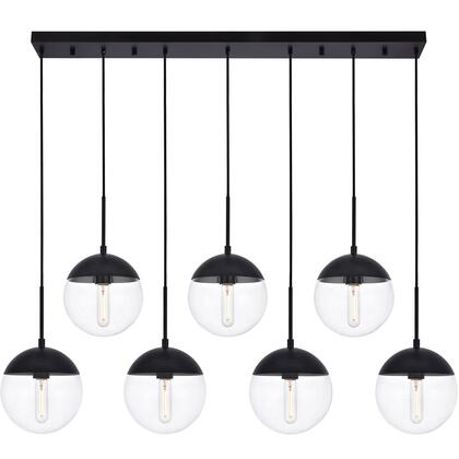 LD6087BK Eclipse 7 Light 8 inch Black Pendant Ceiling Light With Clear White