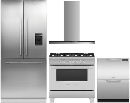 4 Piece Kitchen Appliances Package with RS36A80U1N 36″ French Door Refrigerator  OR36SCG4X1 36″ Gas Range  HC36DTXB2 36″ Wall Mount Convertible Hood