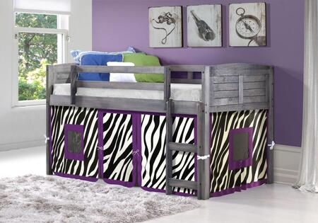 790-AAG-750C-TZ 78″ Twin Louver Low Loft Bed with Built in Ladder  Zebra Tent  Panel Headboard and Footboard in Antique