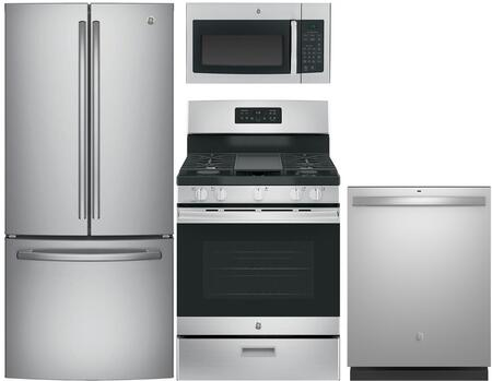"4 Piece Kitchen Package With JGBS66REKSS 30"""" Gas Freestanding Range  JVM3160RFSS over the Range Microwave  GNE25JSKSS 33"""" French Door Refrigerator and -  729618"