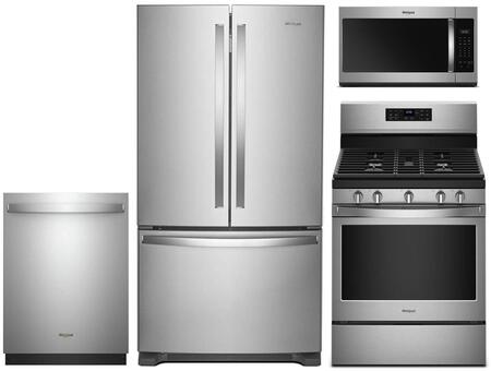 """4 Piece Stainless Steel Kitchen Package with WRF535SWHZ 36"""""""" French Door Refrigerator  WFG525S0HZ 30"""""""" Gas Range  WDT730PAHZ 24"""""""" Fully Integrated Dishwasher and -  Whirlpool, 959878"""