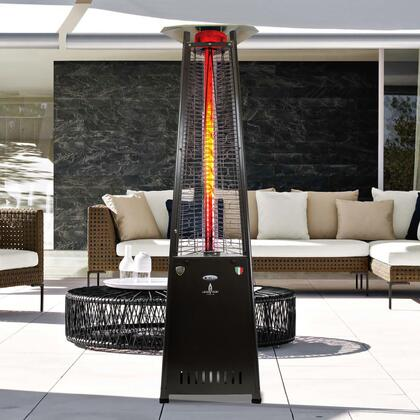 AL8RPBL 2G 92.5″ Triangle Glass Tube Outdoor Heater with  66 000 BTU  Remote Control  Push Button Ignition  in Hammered Black  Liquid Propane –