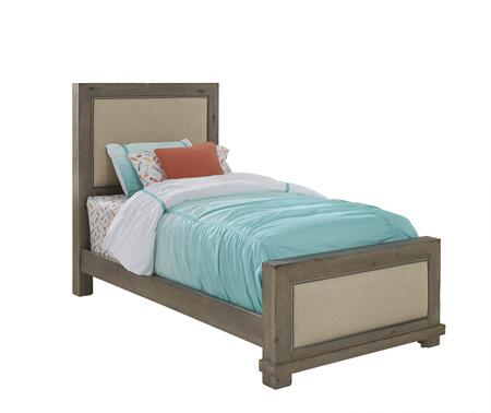 Willow Collection P635-25/26/27 Complete Twin Upholstered Bed with Upholstered Headboard  Upholstered Footboard  4/6 Rails in Weathered