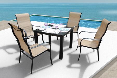 Bellini Home and Gardens Lizy A58405JVA210 Outdoor Patio Set Brown, A58405JVA210 set