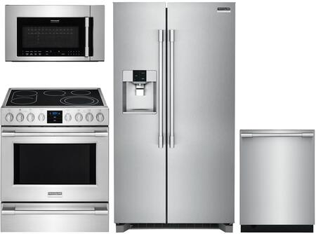 4 Piece Kitchen Appliances Package with FPSC2278UF 36″ Side by Side Refrigerator  FPEH3077RF 30″ Electric Range  FPBM3077RF 30″ Over the Range