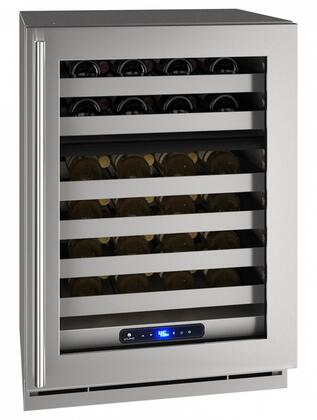 UHWD524SG01A 24″ 5 Class Stainless Steel Dual-Zone Wine Captain with 49 Bottle Capacity  Six Wine Racks  Digital Touch Pad Control and LED