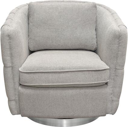 Bentley Collection BENTLEYCHLG Swivel Accent Chair with Fabric Upholstery  Button Tufting  Accent Pillow Included and Brushed Stainless Steel Trim in
