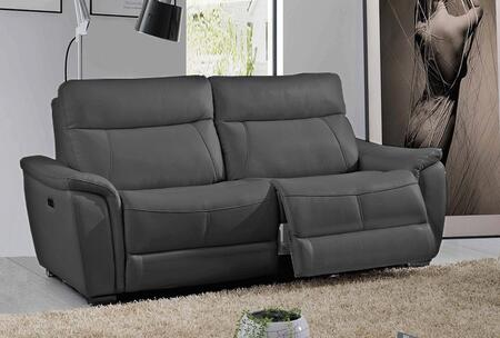17053DARKGREY 85″ Sofa with Electric Recliners  Piped Stitching and Eco-Leather Upholstery in Dark