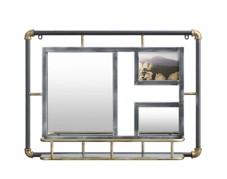 187044 Systems Piping Mirror  in Rustic Gray and Gray Piping Matt Gold Accent and