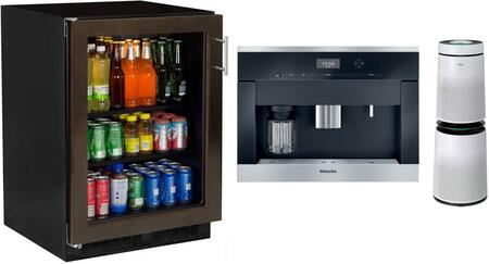 3 Piece Kitchen Appliances Package with ML24BCF2LP 24″ Glass Door Beverage Center  CVA6401 24″ Built-In Coffee System and AS560DWR0 Air Purifier with