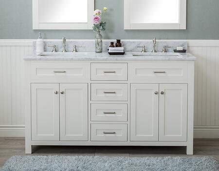 Alya Bath Norwalk HE10160DWCWMT Sink Vanity White, HE-101-60D-W-CWMT front