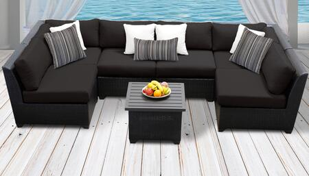 Barbados Collection BARBADOS-07c-BLACK Barbados 7-Piece Patio Set 07c with 2 Corner Chair   4 Armless Chair   1 End Table – Wheat and Black