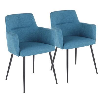 LumiSource Andrew CHANDRWBKTL2 Dining Room Chair Blue, CHANDRWBKTL2 set