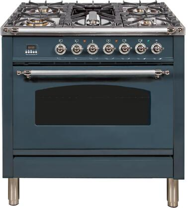 Ilve Nostalgie UPN90FDMPGUXLP Freestanding Dual Fuel Range Blue Grey, Blue Grey Dual Fuel Range