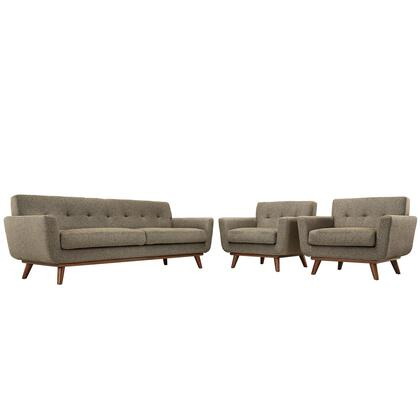 Modway Engage EEI1345OAT Living Room Set Brown, Sofa and 2 Armchairs